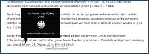 Screenshot Gerichtsentscheidung