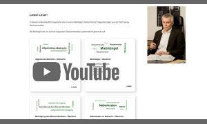Screenshot Startseite mit Link zum YouTube-Video