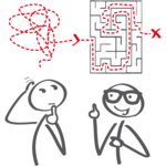 zwei Strichmännchen mit Labyrinth - Erklärung