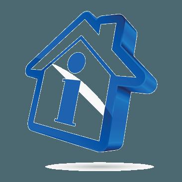 blaues Haus mit Info-Symbol