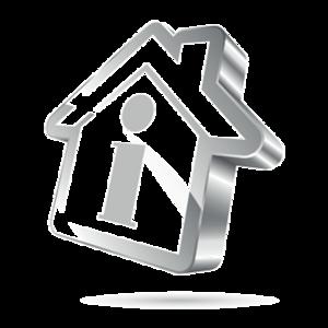 Haus grau mit Info-Symbol