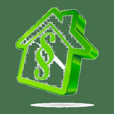 grünes Haus mit Paragrafenzeichen