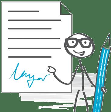 Strichmännchen Unterschrift
