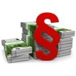 roter Paragraf vor Geldscheinen