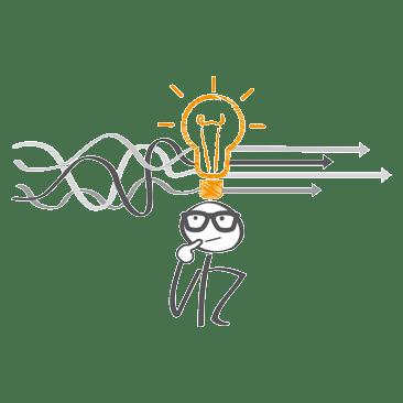 Strichmäünnchen mit Glühbirne und Pfeilen über dem Kopf